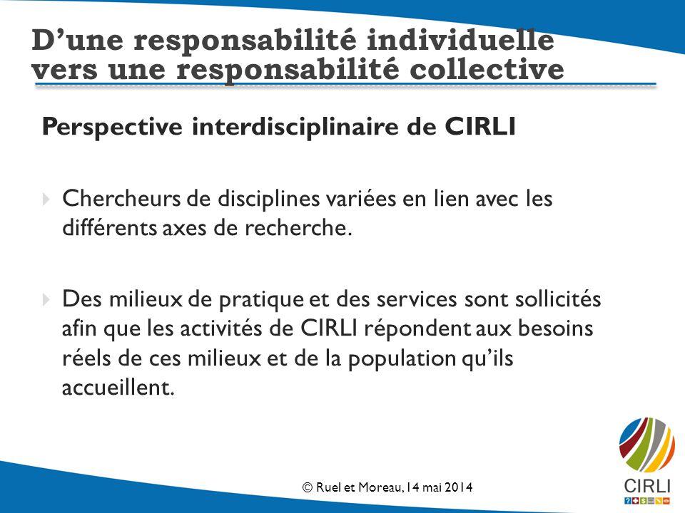 Perspective interdisciplinaire de CIRLI Chercheurs de disciplines variées en lien avec les différents axes de recherche.