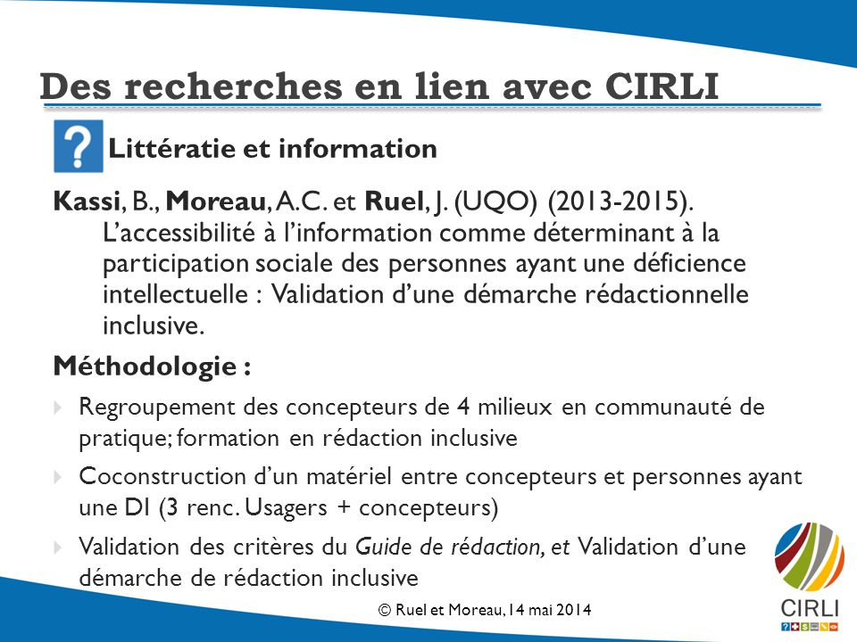 Littératie et information Kassi, B., Moreau, A.C.et Ruel, J.