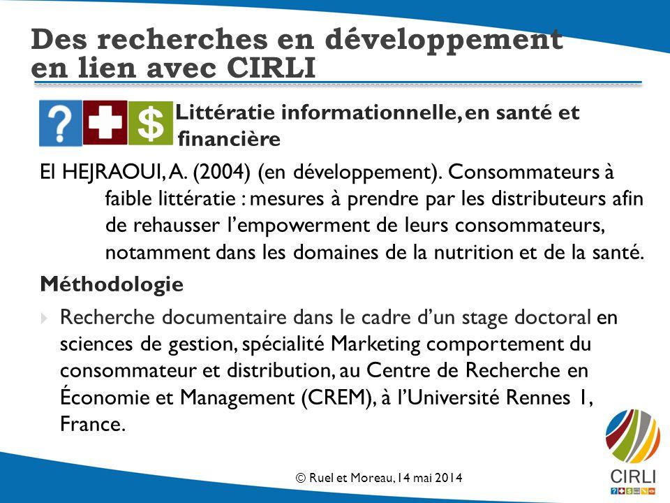 Littératie informationnelle, en santé et financière El HEJRAOUI, A.