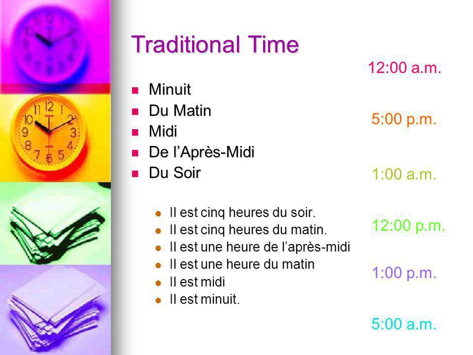 Traditional Time Minuit Minuit Du Matin Du Matin Midi Midi De lAprès-Midi De lAprès-Midi Du Soir Du Soir Il est cinq heures du soir.