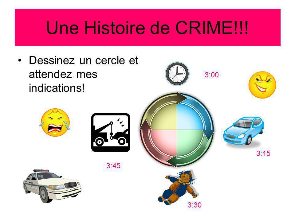 Une Histoire de CRIME!!! Dessinez un cercle et attendez mes indications! 3:00 3:15 3:30 3:45