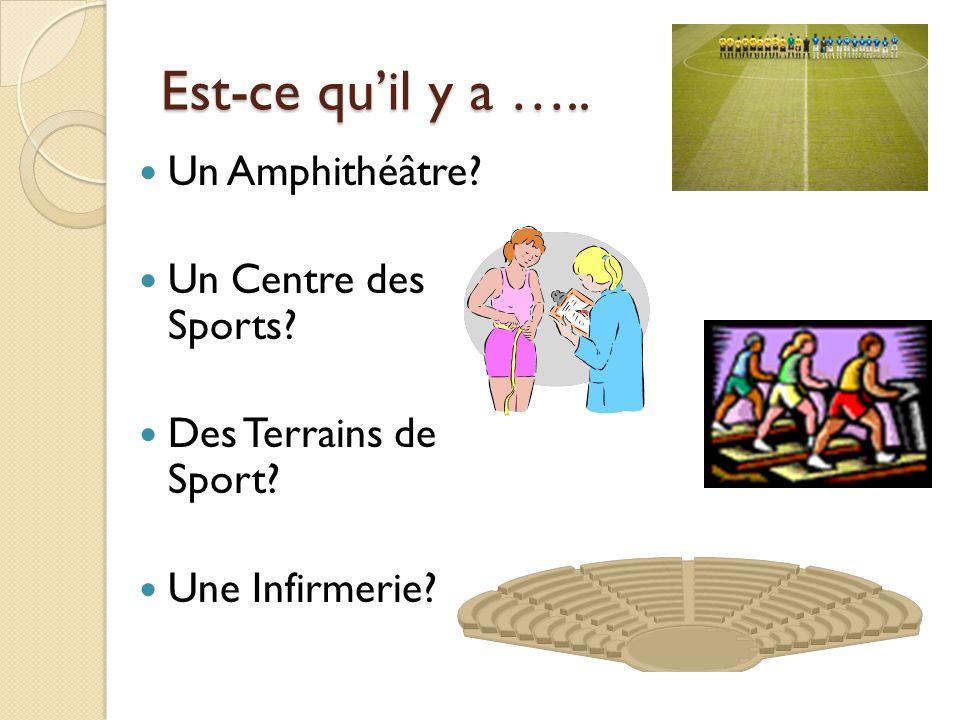Est-ce quil y a ….. Un Amphithéâtre? Un Centre des Sports? Des Terrains de Sport? Une Infirmerie?