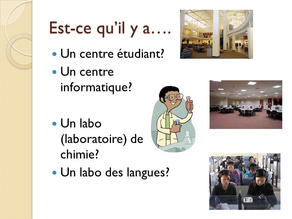 Est-ce quil y a…. Un centre étudiant? Un centre informatique? Un labo (laboratoire) de chimie? Un labo des langues?