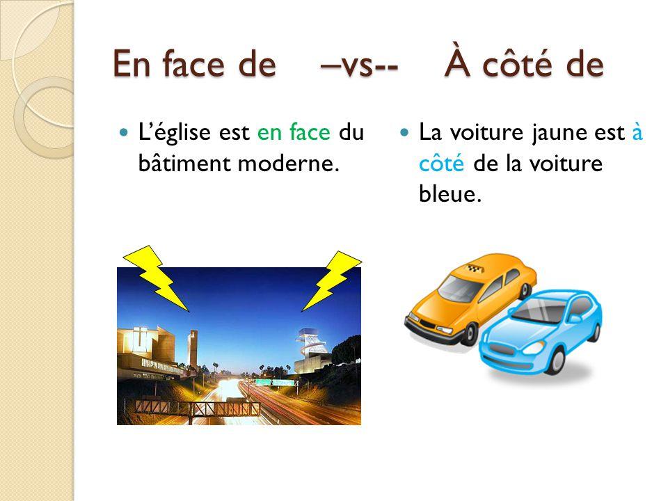 En face de –vs-- À côté de Léglise est en face du bâtiment moderne. La voiture jaune est à côté de la voiture bleue.