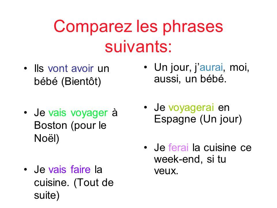 Comparez les phrases suivants: Ils vont avoir un bébé (Bientôt) Je vais voyager à Boston (pour le Noël) Je vais faire la cuisine. (Tout de suite) Un j