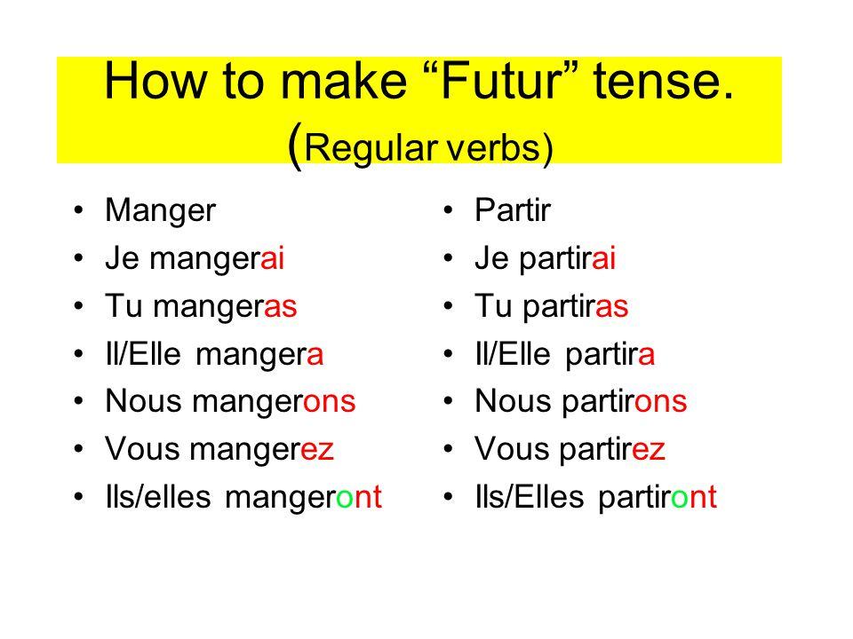 How to make Futur tense. ( Regular verbs) Manger Je mangerai Tu mangeras Il/Elle mangera Nous mangerons Vous mangerez Ils/elles mangeront Partir Je pa