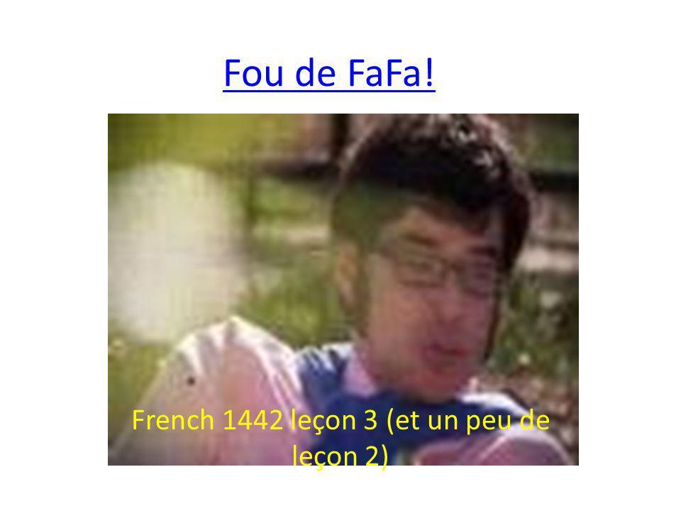 Fou de FaFa! French 1442 leçon 3 (et un peu de leçon 2)