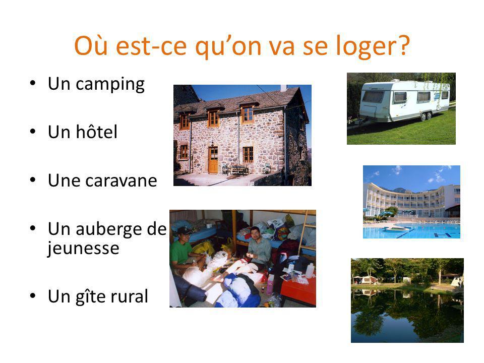 Où est-ce quon va se loger? Un camping Un hôtel Une caravane Un auberge de jeunesse Un gîte rural