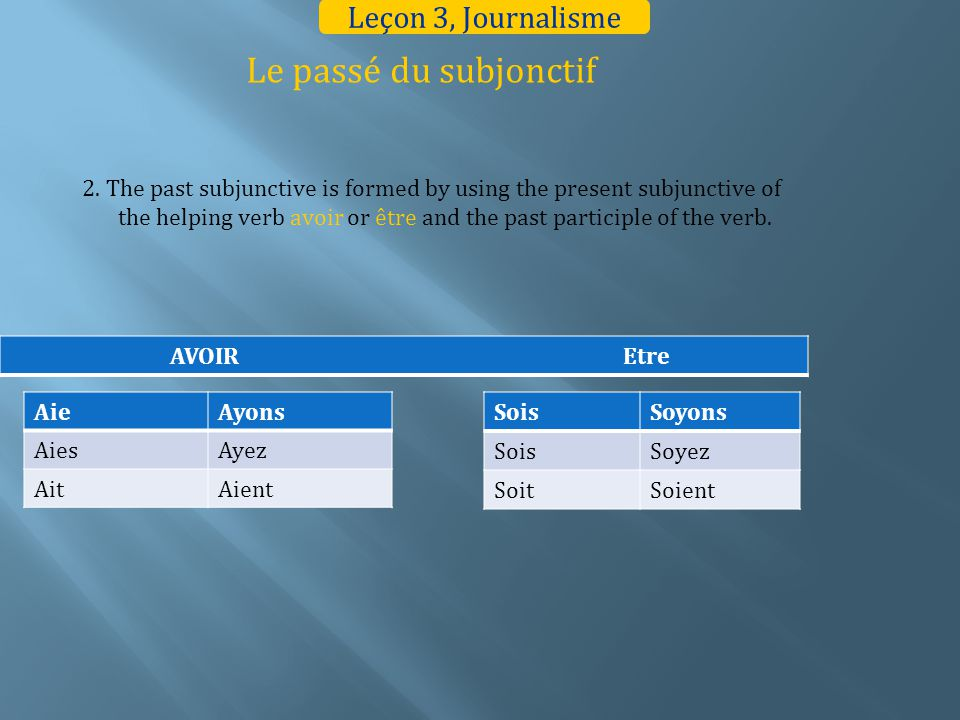 Le passé du subjonctif 2. The past subjunctive is formed by using the present subjunctive of the helping verb avoir or être and the past participle of