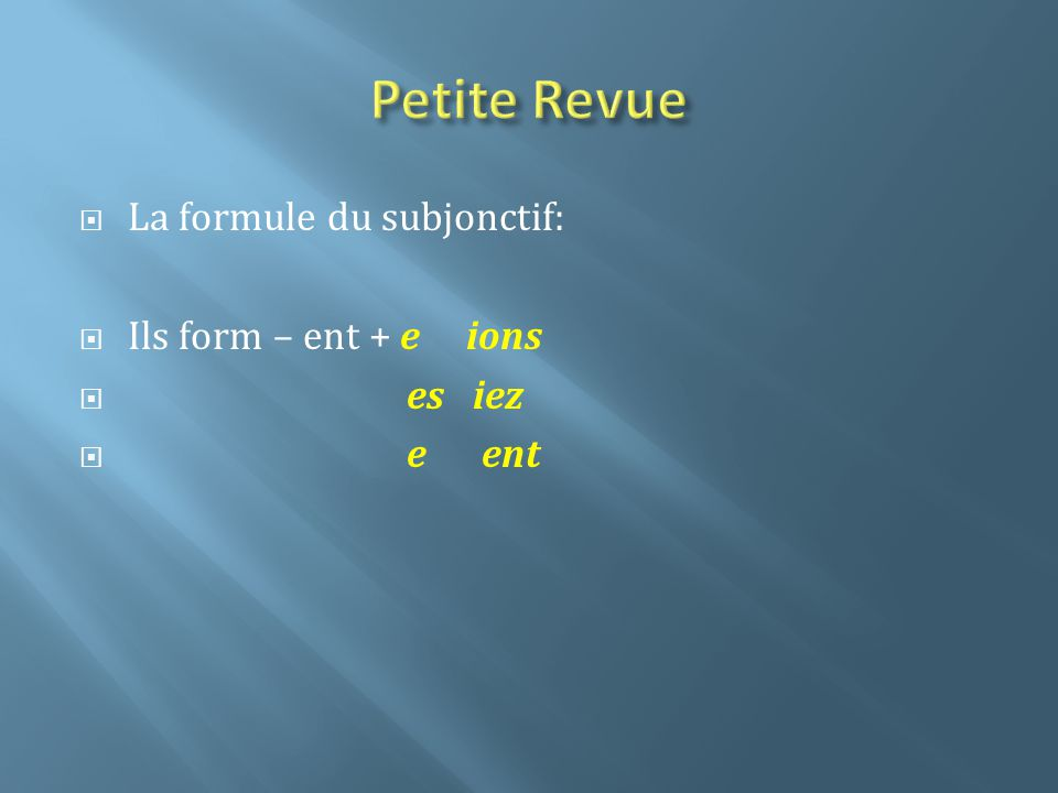 Le subjonctif après les expressions démotion 1.The subjunctive is used in clauses introduced by que that follow a verb or expression reflecting any type of emotion.