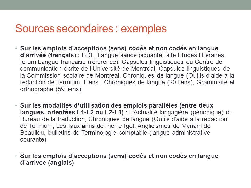 Sources secondaires : exemples Sur les emplois dacceptions (sens) codés et non codés en langue darrivée (français) : BDL, Langue sauce piquante, site