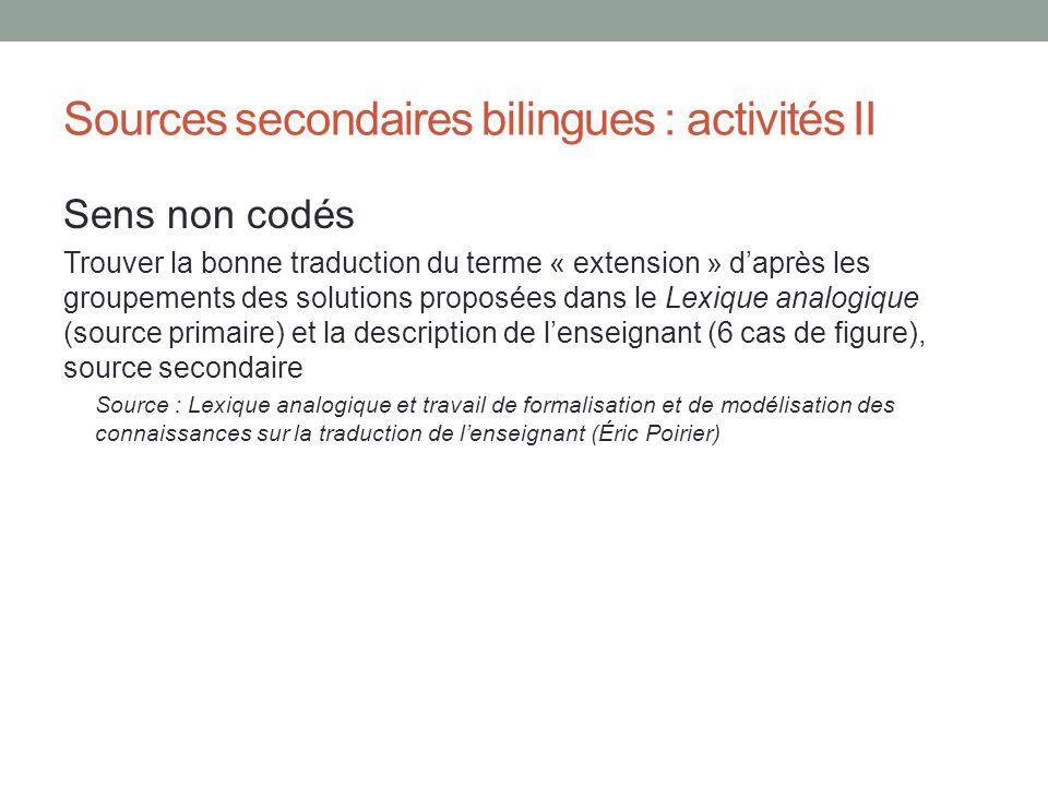 Sources secondaires bilingues : activités II Sens non codés Trouver la bonne traduction du terme « extension » daprès les groupements des solutions pr