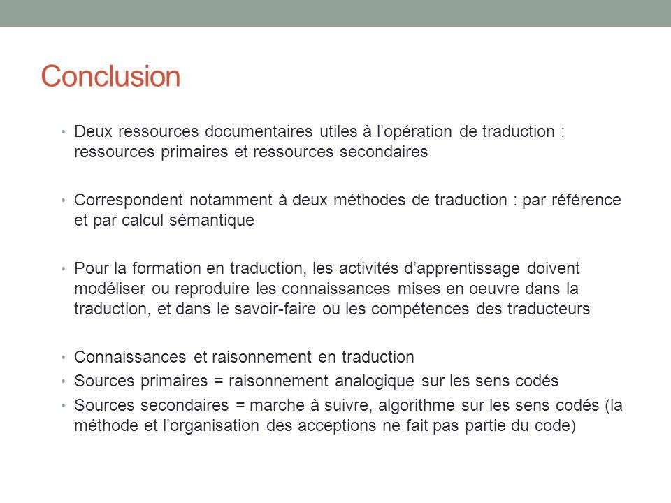 Conclusion Deux ressources documentaires utiles à lopération de traduction : ressources primaires et ressources secondaires Correspondent notamment à