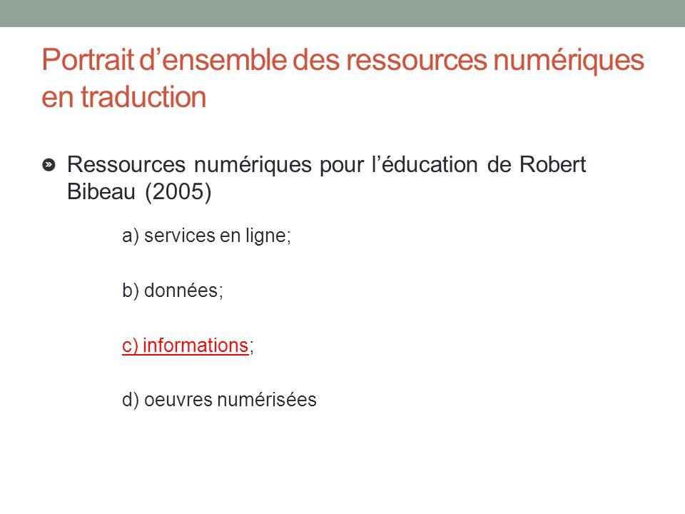 Portrait densemble des ressources numériques en traduction Ressources numériques pour léducation de Robert Bibeau (2005) a) services en ligne; b) donn