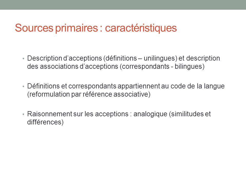 Sources primaires : caractéristiques Description dacceptions (définitions – unilingues) et description des associations dacceptions (correspondants -