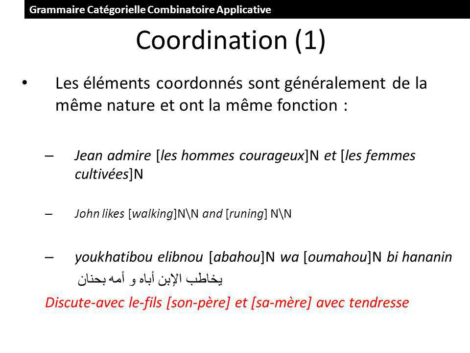Coordination (1) Les éléments coordonnés sont généralement de la même nature et ont la même fonction : – Jean admire [les hommes courageux]N et [les femmes cultivées]N – John likes [walking]N\N and [runing] N\N – youkhatibou elibnou [abahou]N wa [oumahou]N bi hananin يخاطب الإبن أباه و أمه بحنان Discute-avec le-fils [son-père] et [sa-mère] avec tendresse Grammaire Catégorielle Combinatoire Applicative