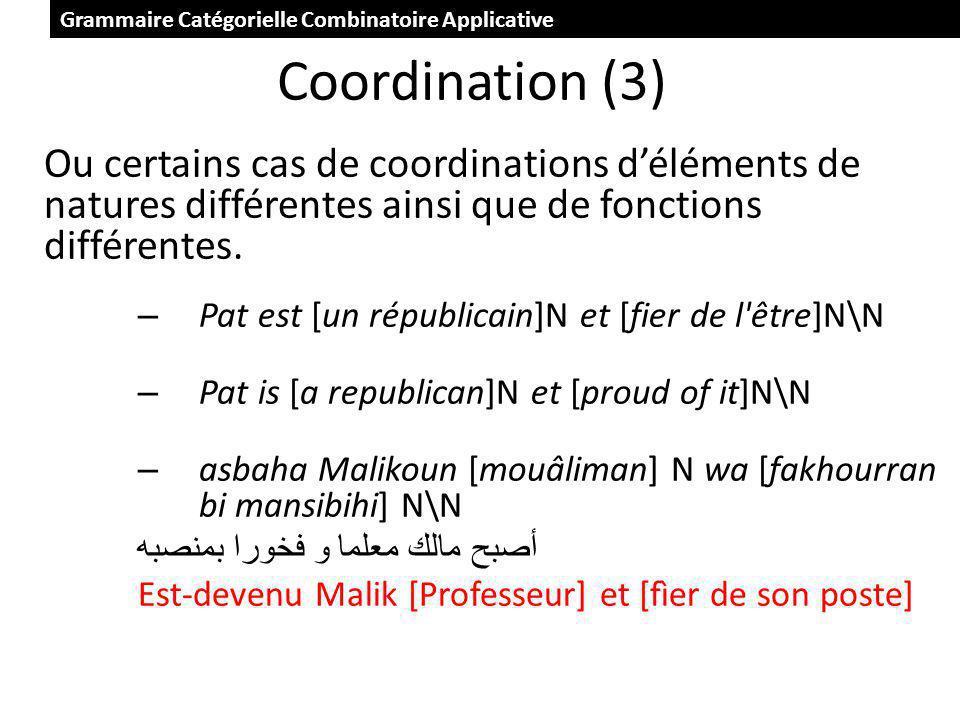 Coordination (3) Ou certains cas de coordinations déléments de natures différentes ainsi que de fonctions différentes.