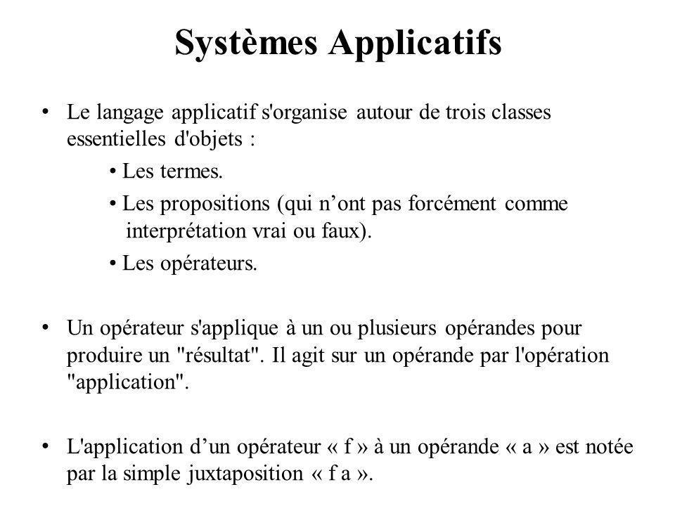 Systèmes Applicatifs Le langage applicatif s organise autour de trois classes essentielles d objets : Les termes.