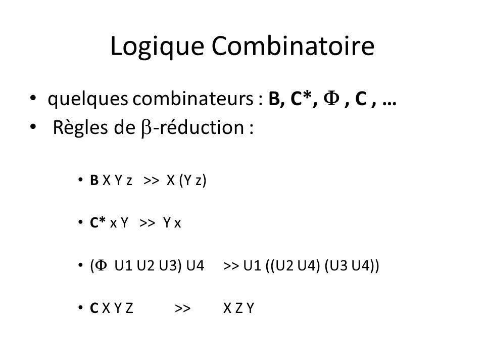 Logique Combinatoire quelques combinateurs : B, C*,, C, … Règles de -réduction : B X Y z >> X (Y z) C* x Y >> Y x ( U1 U2 U3) U4 >> U1 ((U2 U4) (U3 U4)) C X Y Z>> X Z Y