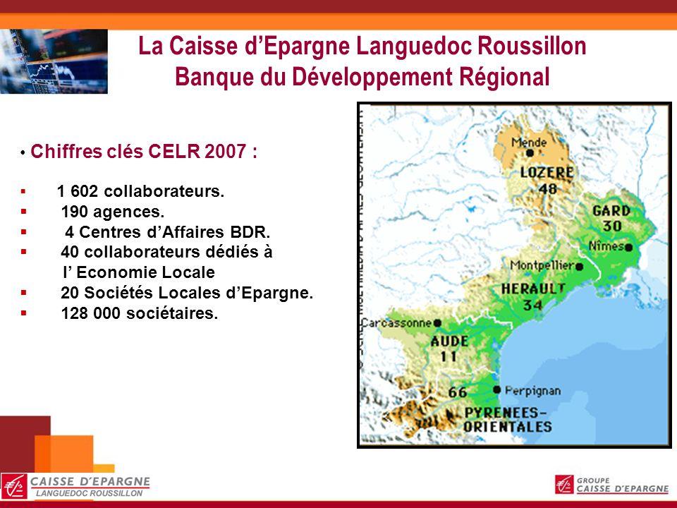La Caisse dEpargne Languedoc Roussillon Banque du Développement Régional Chiffres clés CELR 2007 : 1 602 collaborateurs. 190 agences. 4 Centres dAffai