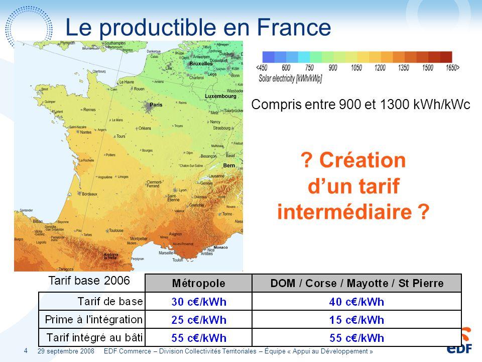 29 septembre 2008 EDF Commerce – Division Collectivités Territoriales – Équipe « Appui au Développement » 4 Le productible en France Compris entre 900