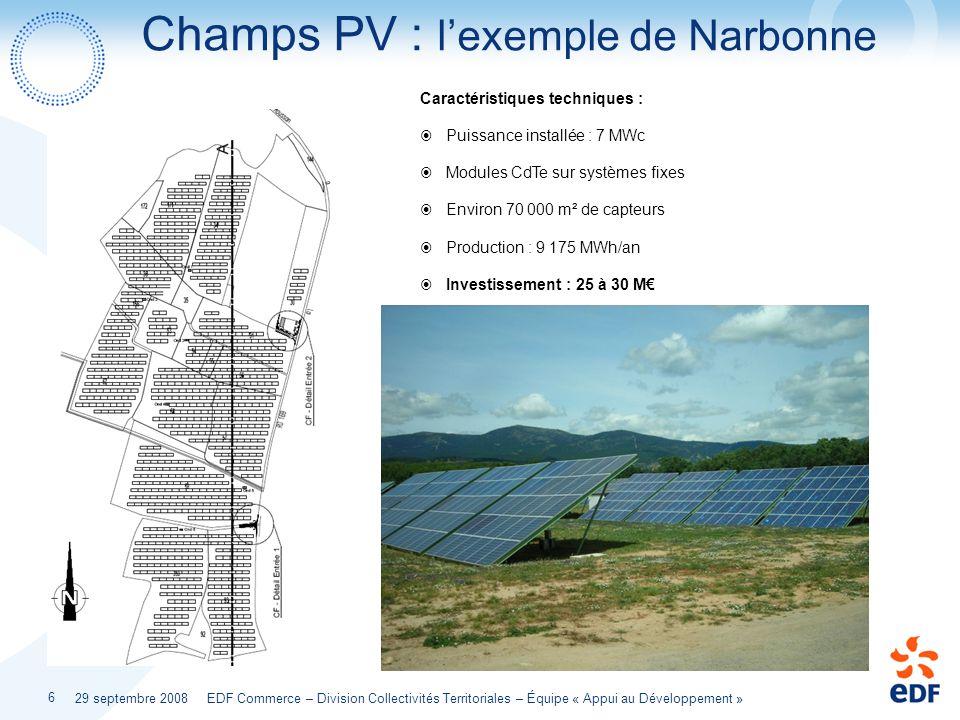 29 septembre 2008 EDF Commerce – Division Collectivités Territoriales – Équipe « Appui au Développement » 6 Champs PV : lexemple de Narbonne Caractéri