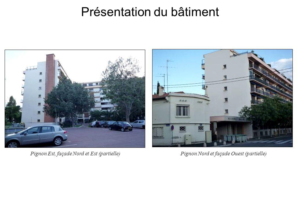 Présentation du bâtiment Pignon Est, façade Nord et Est (partielle)Pignon Nord et façade Ouest (partielle)