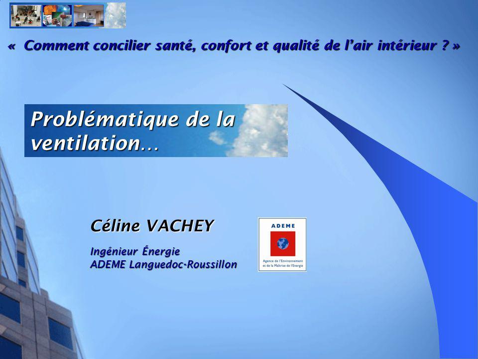 Problématique de la ventilation… Céline VACHEY Ingénieur Énergie ADEME Languedoc-Roussillon « Comment concilier santé, confort et qualité de lair intérieur .