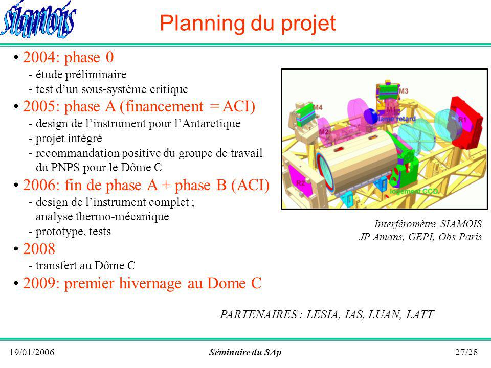19/01/2006Séminaire du SAp26/28 Linstrument 40-cm telescope low cost, easy antartization, dedicated to the projet Interferometer monolithic instrument no moving part, reduced size fiber fed Post-dispersion efficiency, photon noise limited performances