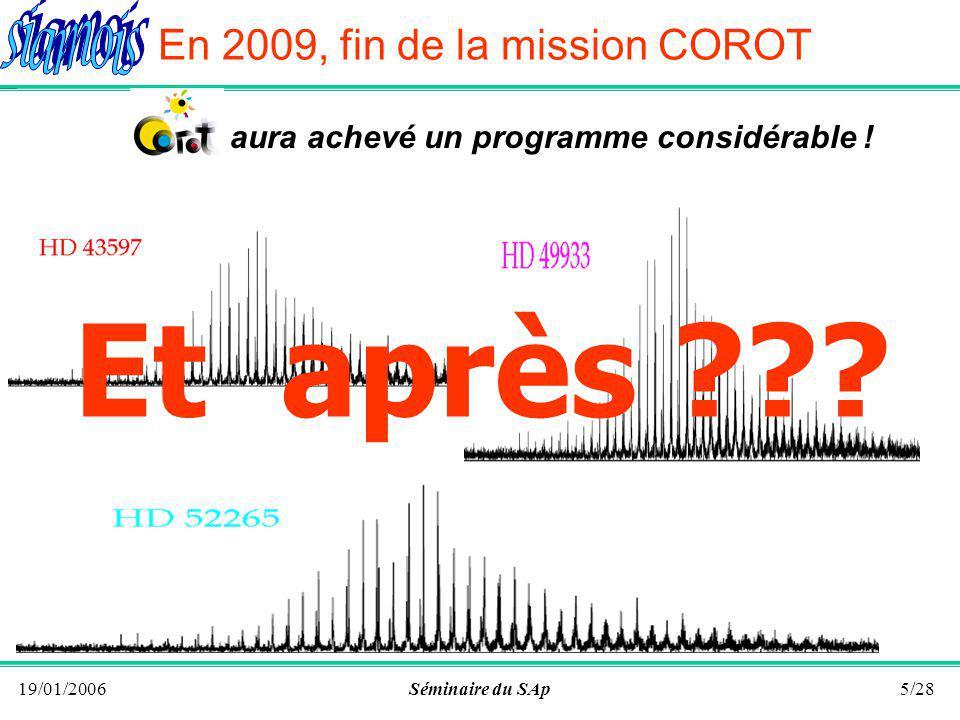 19/01/2006Séminaire du SAp4/28 En 2006, du sol Les observations astérosismiques du sol restent toujours limitées par leffet de fenêtre en observation bi-sites Besoin dobservations continues