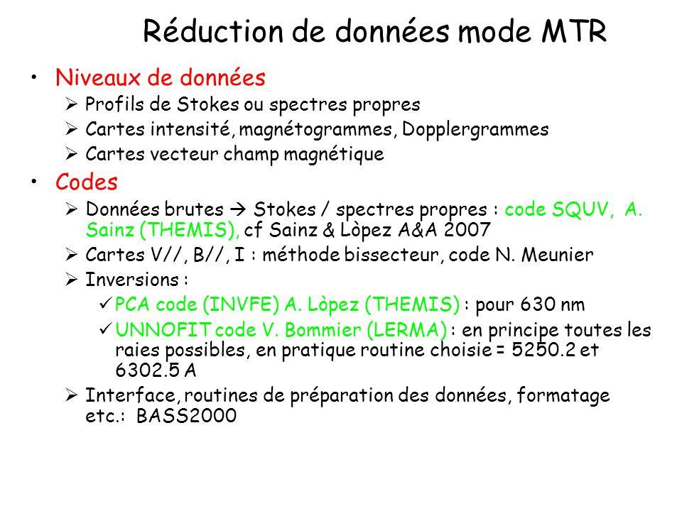 Réduction de données mode MTR Niveaux de données Profils de Stokes ou spectres propres Cartes intensité, magnétogrammes, Dopplergrammes Cartes vecteur