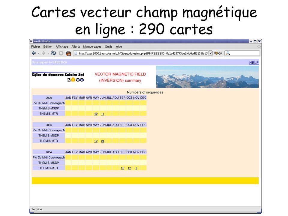 Cartes vecteur champ magnétique en ligne : 290 cartes
