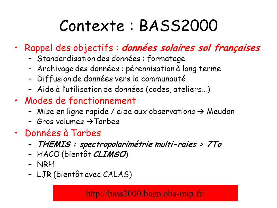 Contexte : BASS2000 Rappel des objectifs : données solaires sol françaises –Standardisation des données : formatage –Archivage des données : pérennisa