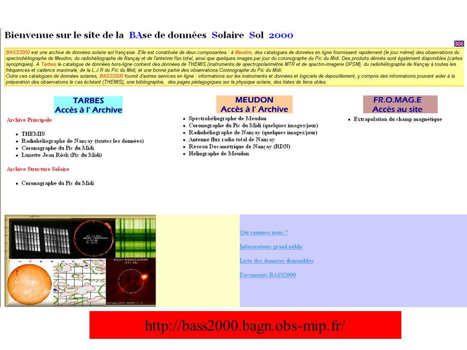 Le nouveau coronographe du Pic du Midi : CLIMSO Base de données HACO (1994-2007) /CLIMSO (2007---) -Meudon : mise en ligne rapide une image / jour -Tarbes : toutes les données + catalogue de structures solaires CLIMSO : 4 instruments, 6 images / minute –1 coronographe H α ( HACO) : en service –1 coronographe HeI 1083 nm, Fe XIII 1074 & 1079 –1 lunette H α : en service –1 lunette Ca II K Projets -Poursuite archivage -Lien avec OV Projet CDPP-MEDOC-BASS2000 (C.
