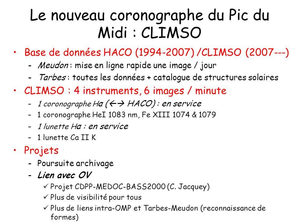Le nouveau coronographe du Pic du Midi : CLIMSO Base de données HACO (1994-2007) /CLIMSO (2007---) -Meudon : mise en ligne rapide une image / jour -Ta