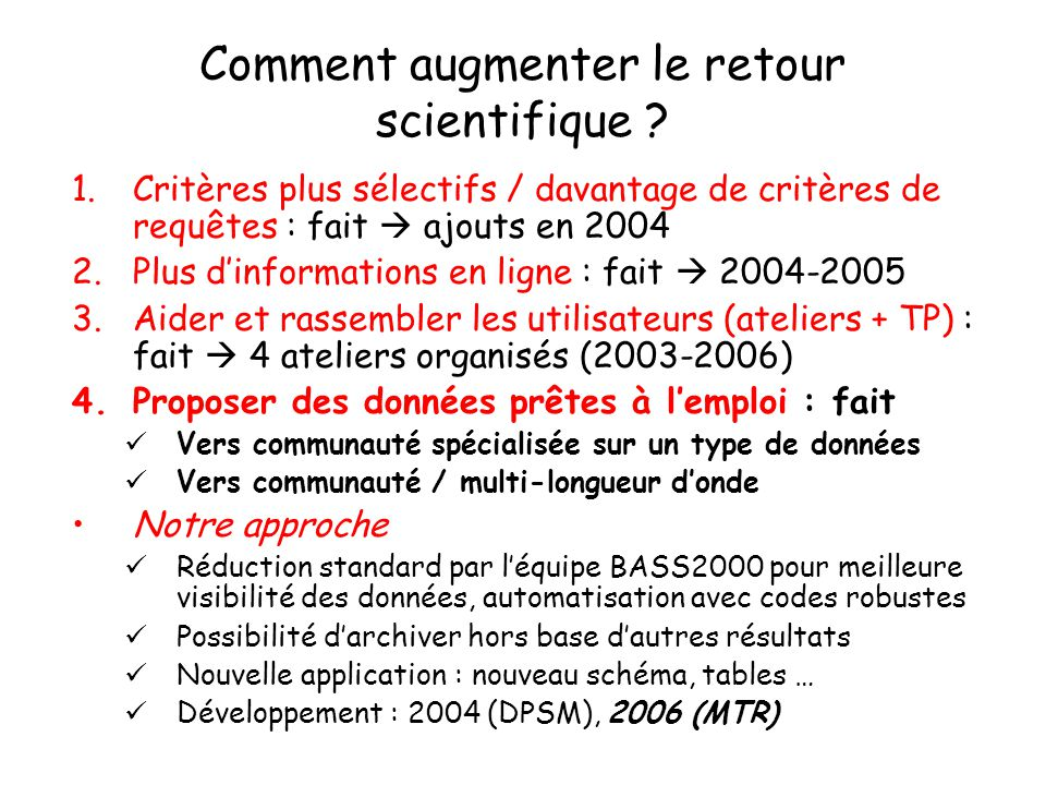 Comment augmenter le retour scientifique .