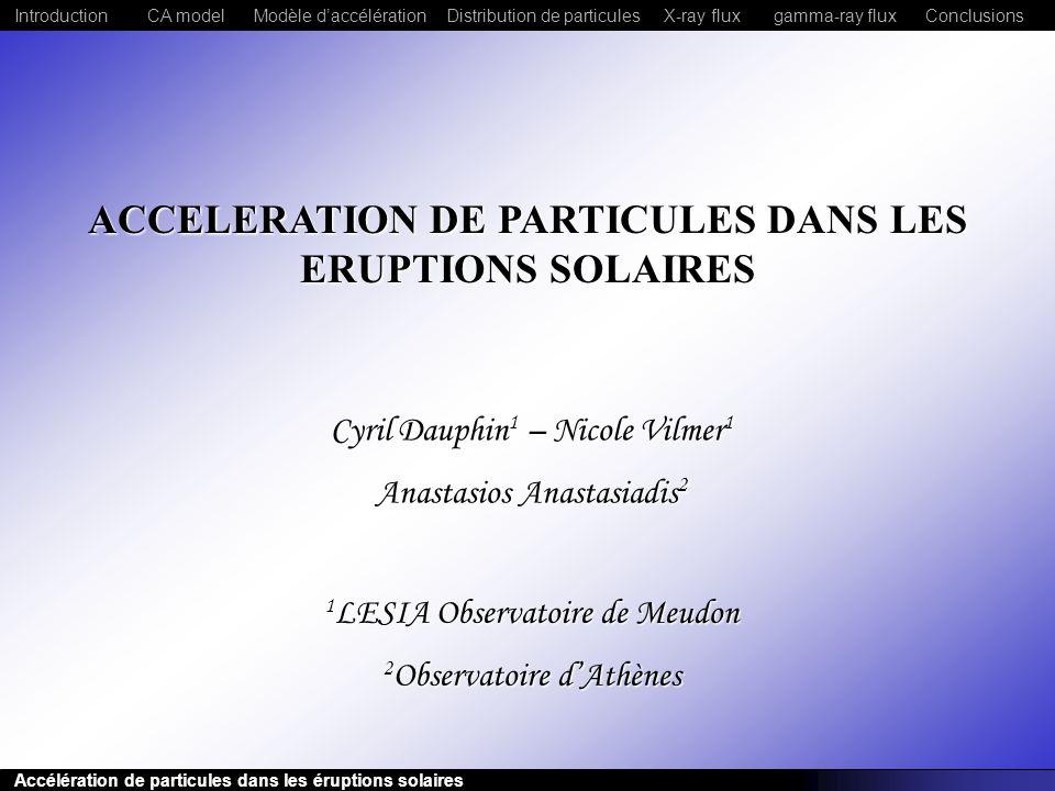Accélération de particules dans les éruptions solaires CA modelModèle daccélérationDistribution de particulesConclusionsIntroductionX-ray fluxgamma-ra