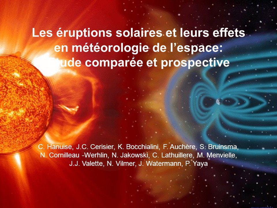 PNST 2005, Paris Etude initiée à loccasion de la campagne MEDOC de Mai 2003 Suivi global de lorage de Mai 2003 à partir du soleil jusquaux effets dans lionosphère et la thermosphère Etude pluridisciplinaire Activité solaire intense du 26 au 29 Mai (30 éruptions solaires) Observations : - SOHO - ACE (vent solaire à L1) - Satellites géostationnaires (GOES) - Cluster - CHAMP - Ionosphère : EISCAT/ESR SuperDARN - Orbitographie - GPS (Contenu Electronique Total)