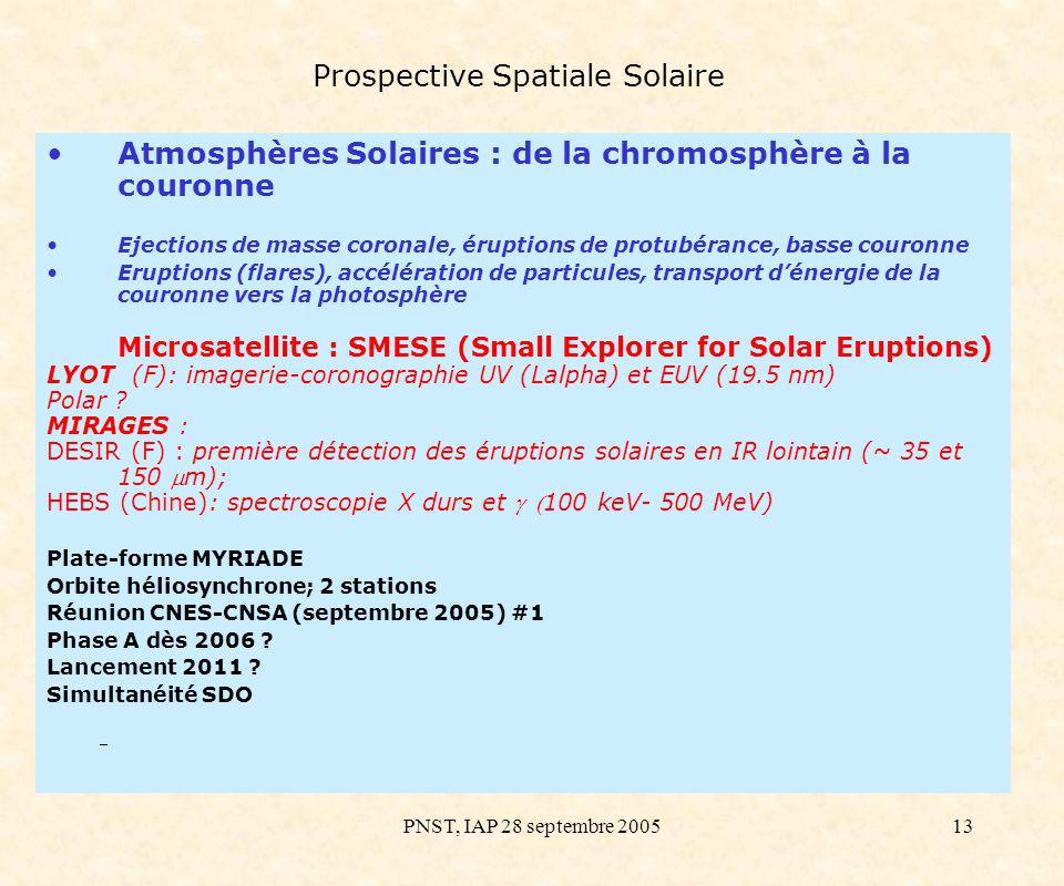 PNST, IAP 28 septembre 200513 Prospective Spatiale Solaire Atmosphères Solaires : de la chromosphère à la couronne Ejections de masse coronale, érupti