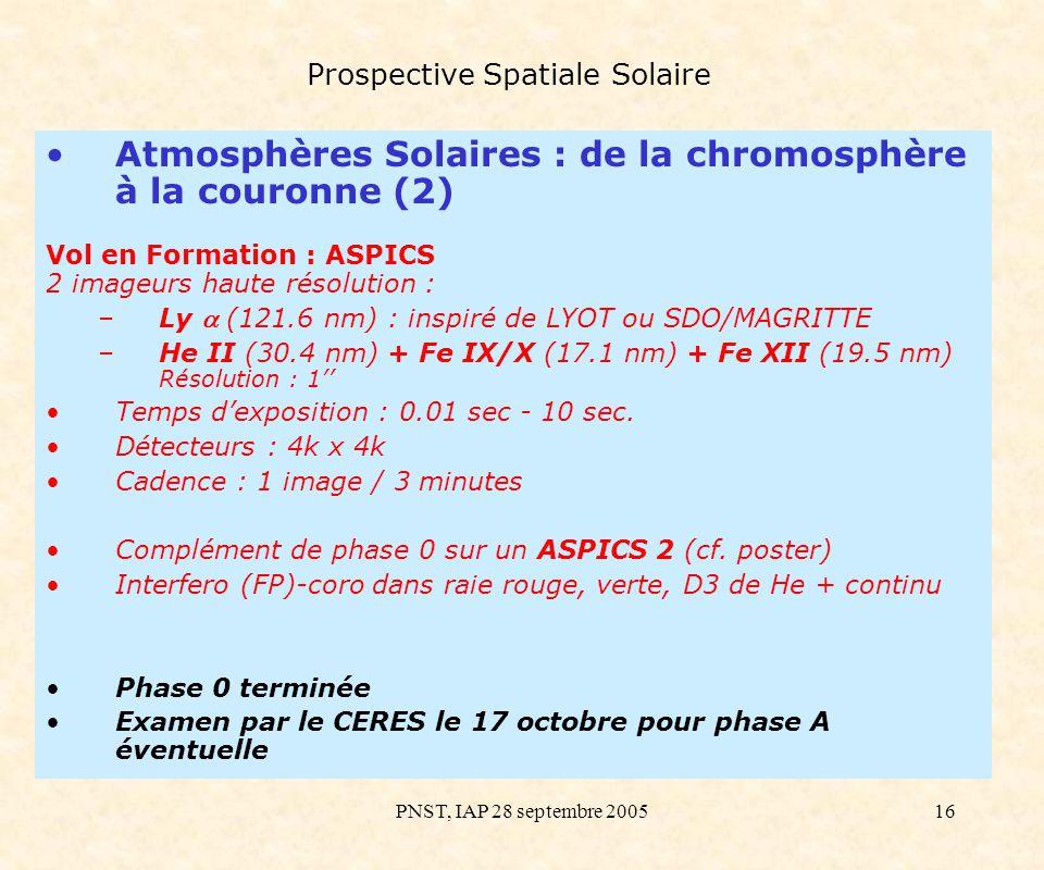 PNST, IAP 28 septembre 200516 Prospective Spatiale Solaire Atmosphères Solaires : de la chromosphère à la couronne (2) Vol en Formation : ASPICS 2 ima