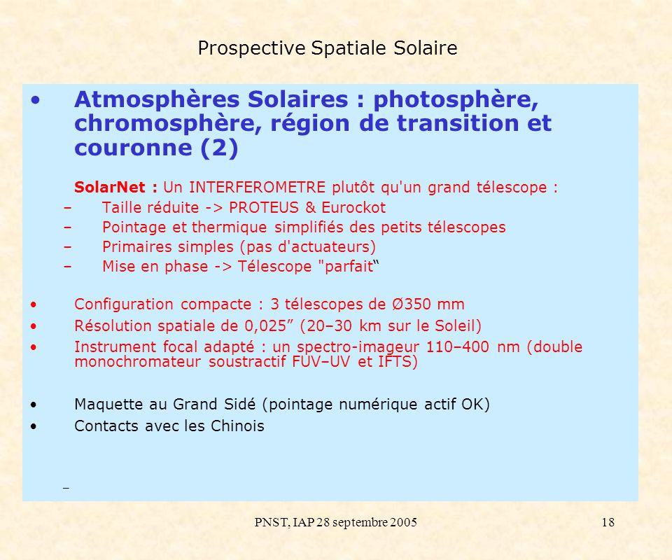 PNST, IAP 28 septembre 200518 Prospective Spatiale Solaire Atmosphères Solaires : photosphère, chromosphère, région de transition et couronne (2) Sola