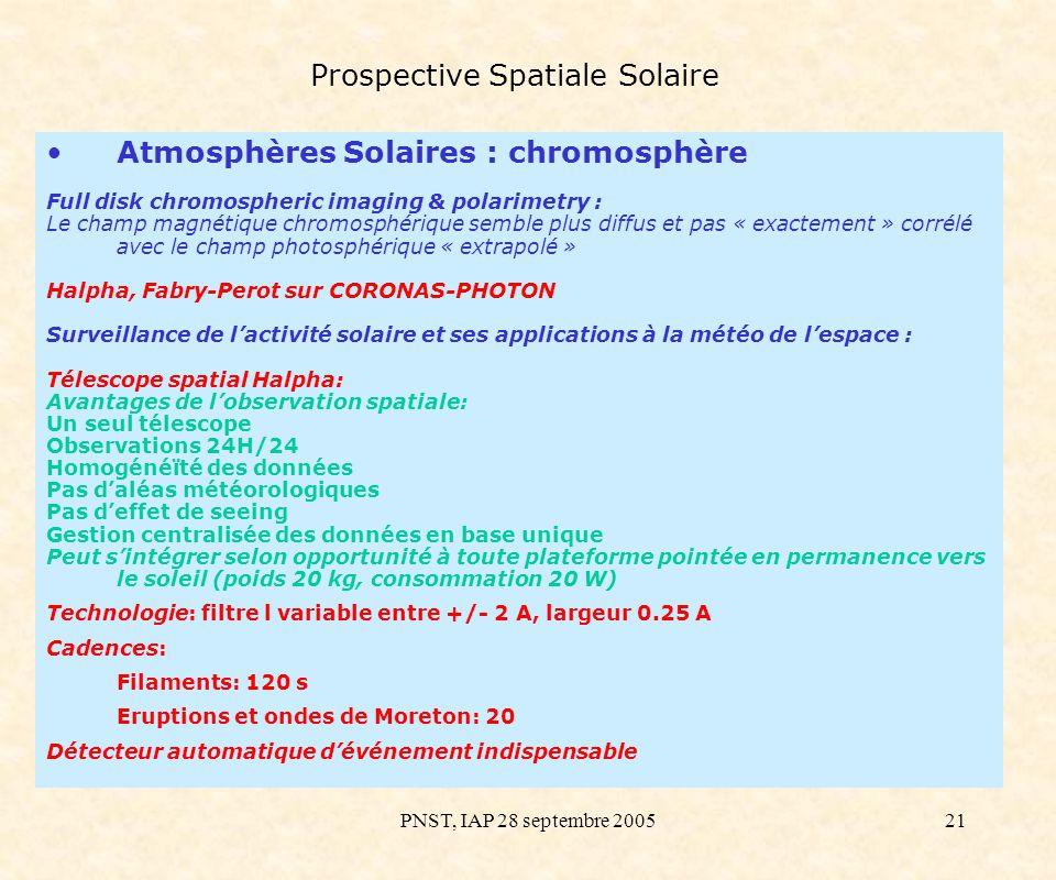PNST, IAP 28 septembre 200521 Prospective Spatiale Solaire Atmosphères Solaires : chromosphère Full disk chromospheric imaging & polarimetry : Le cham