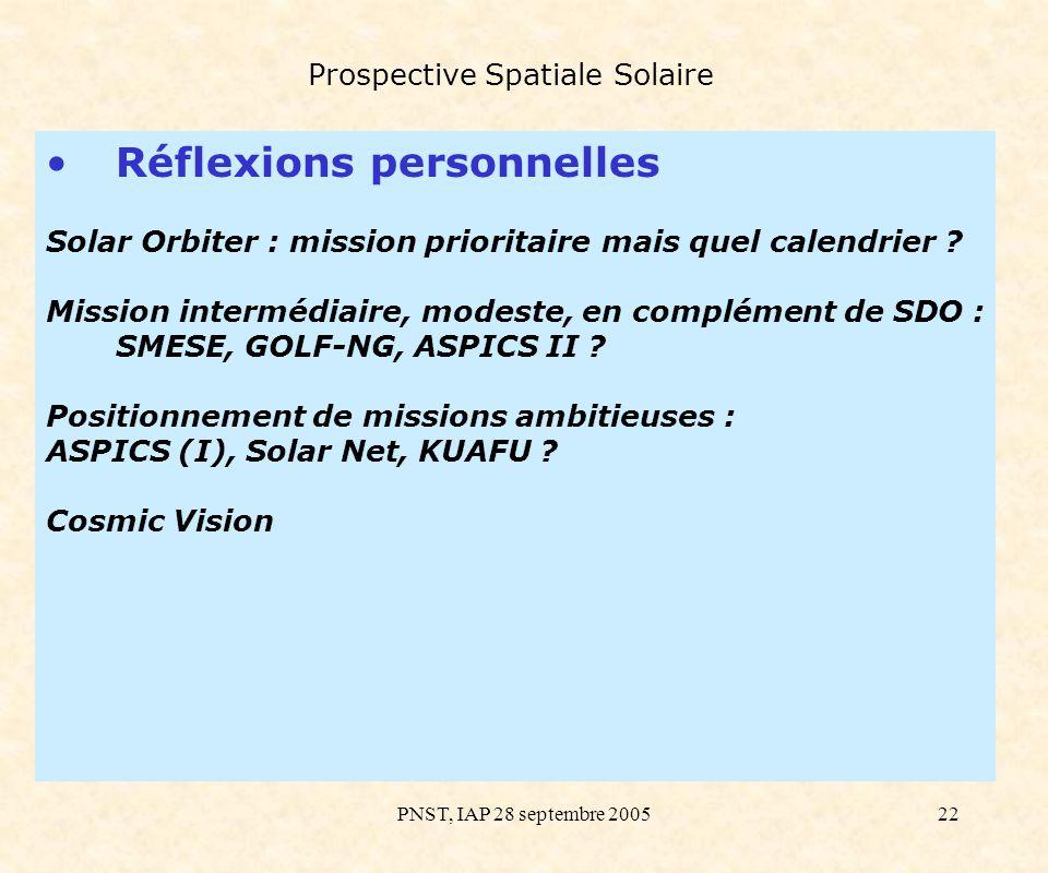 PNST, IAP 28 septembre 200522 Prospective Spatiale Solaire Réflexions personnelles Solar Orbiter : mission prioritaire mais quel calendrier ? Mission