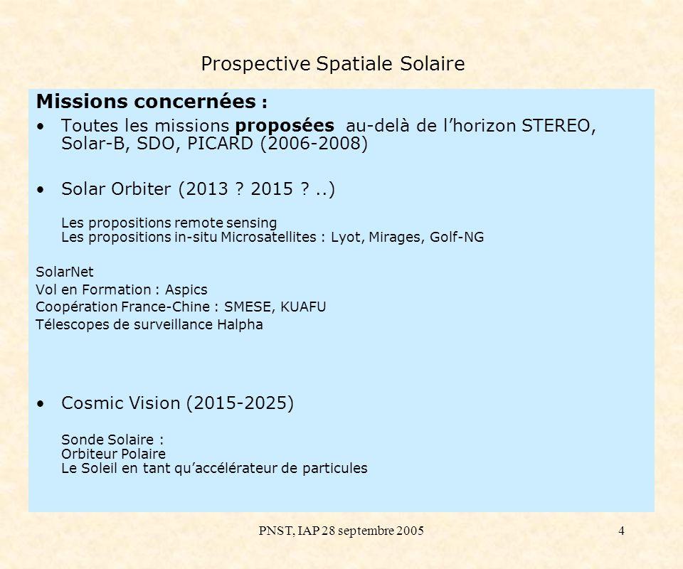 PNST, IAP 28 septembre 200515 Prospective Spatiale Solaire Atmosphères Solaires : de la chromosphère à la couronne (1) Ejections de masse coronale, éruptions de protubérance, basse couronne Vol en Formation : ASPICS (Association de Satellites Pour lImagerie et la Coronographie Solaire) 3 coronographes haute résolution, occultation externe, aussi près que 0.1 Rsol du disque –Lumière blanche (540-640 nm) non polarisée –Ly (121.6 nm) –He II (30.4 nm) ou O VI (103.2 nm) Résolution : 3 Temps dexposition : 0.1 sec - 10 sec.
