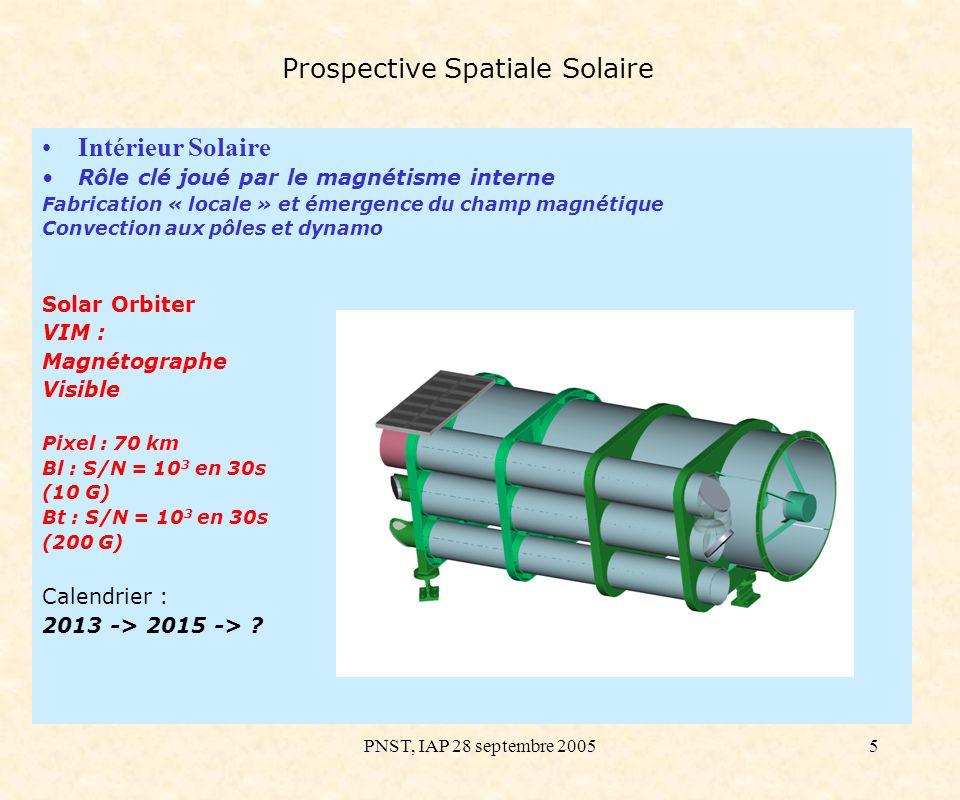 PNST, IAP 28 septembre 20056 Prospective Spatiale Solaire Atmosphères Solaires : couronne, vent Résoudre les échelles fondamentales des processus et applications au chauffage couronne, origine vent solaire, … Solar Orbiter EUI : Imageur EUV Two instruments: HRI for resolution: 0.5 arc-sec in 17 arc-min field (2k x 2k detector array) => 70 km sur le Soleil HRI spectral bands: 13.3 nm, 17.4 nm, 30.4 nm 3 different HRI telescopes optimised for each spectral band TBC FSI field: 4.75 arc-sec ( 9.5 arc-sec) in 5.4° field (4k x 4k) => 700 km on the Sun FSI spectral bands: TBD in 17.1 – 30.4 nm single telescope Diameter of HRIs and FSI = driven by radiometry and not diffraction (FSI 5 mm, HRI 30 mm) Calendrier : 2013 -> 2015 -> ?