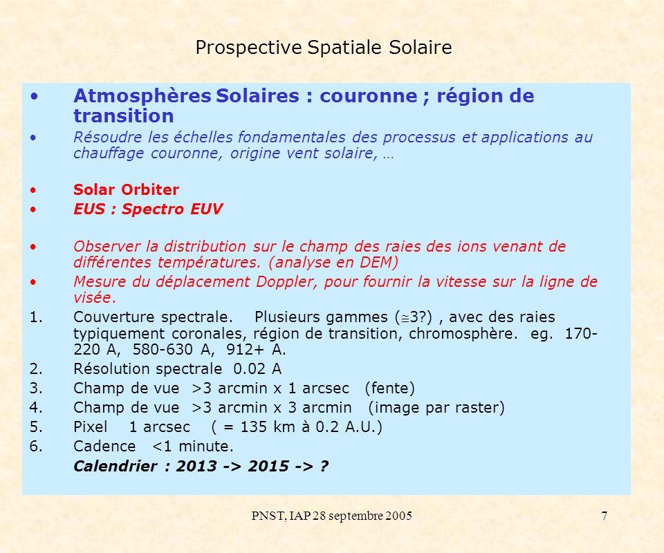 PNST, IAP 28 septembre 200518 Prospective Spatiale Solaire Atmosphères Solaires : photosphère, chromosphère, région de transition et couronne (2) SolarNet : Un INTERFEROMETRE plutôt qu un grand télescope : –Taille réduite -> PROTEUS & Eurockot –Pointage et thermique simplifiés des petits télescopes –Primaires simples (pas d actuateurs) –Mise en phase -> Télescope parfait Configuration compacte : 3 télescopes de Ø350 mm Résolution spatiale de 0,025 (20–30 km sur le Soleil) Instrument focal adapté : un spectro-imageur 110–400 nm (double monochromateur soustractif FUV–UV et IFTS) Maquette au Grand Sidé (pointage numérique actif OK) Contacts avec les Chinois –