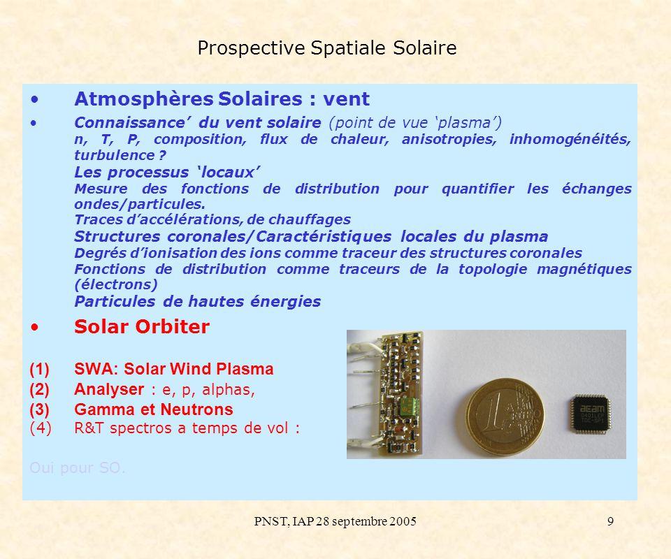 PNST, IAP 28 septembre 200510 Prospective Spatiale Solaire Atmosphères Solaires : vent Mesure des fluctuations magnétiques dans le vent solaire : Ondes ELF/VLF & turbulence d Alfvén : Turbulence Whistler et ondes acoustique ioniques: Solar Orbiter Jeu de 2 capteurs magnétiques permettant la caractérisation des fluctuations magnétiques à 0.2 UA dans la bande allant de 1 Hz jusqu à quelques MHz Boucle magnétique HF avec preamplificateur Dimension : 200 mm Masse totale : 200g Puissance : 300mW (±5V) Search Coil triaxial ELF-VLF