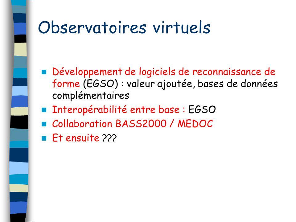 Développement de logiciels de reconnaissance de forme (EGSO) : valeur ajoutée, bases de données complémentaires Interopérabilité entre base : EGSO Col