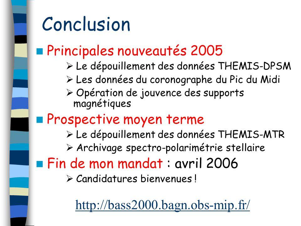 Conclusion Principales nouveautés 2005 Le dépouillement des données THEMIS-DPSM Les données du coronographe du Pic du Midi Opération de jouvence des s