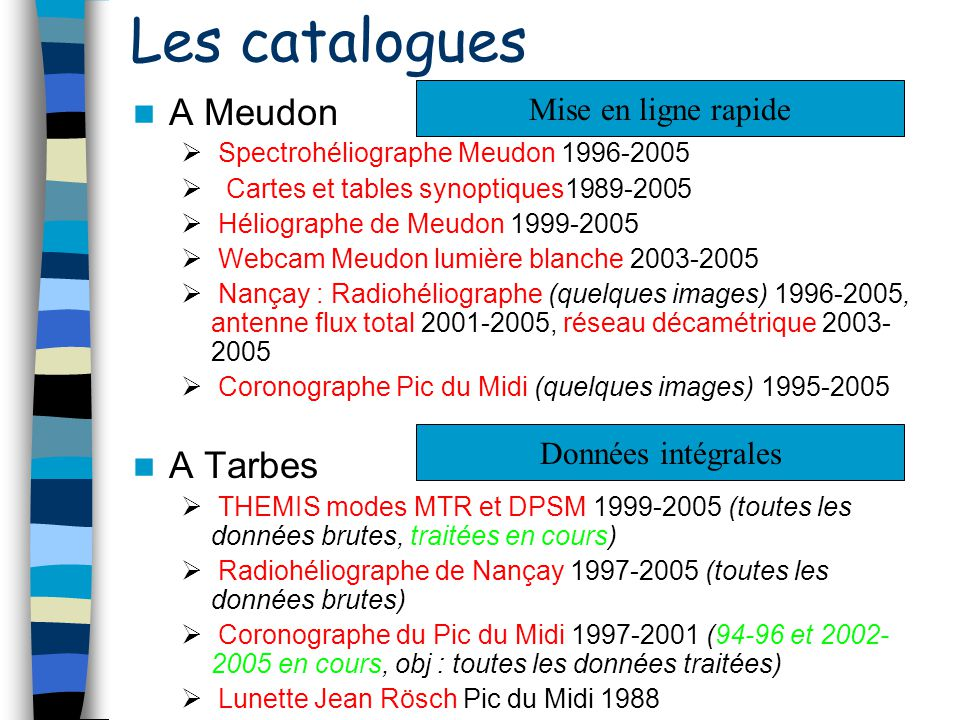Les catalogues A Meudon Spectrohéliographe Meudon 1996-2005 Cartes et tables synoptiques1989-2005 Héliographe de Meudon 1999-2005 Webcam Meudon lumièr